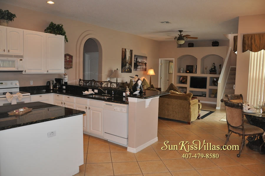 Orlando Disney Vacation Home Rental - Grand Hereon - Kitchen Family Room