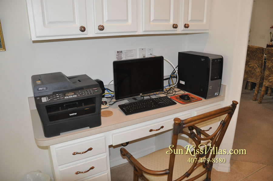 Orlando Disney Vacation Rental Home - Grand Oasis - Computer Station